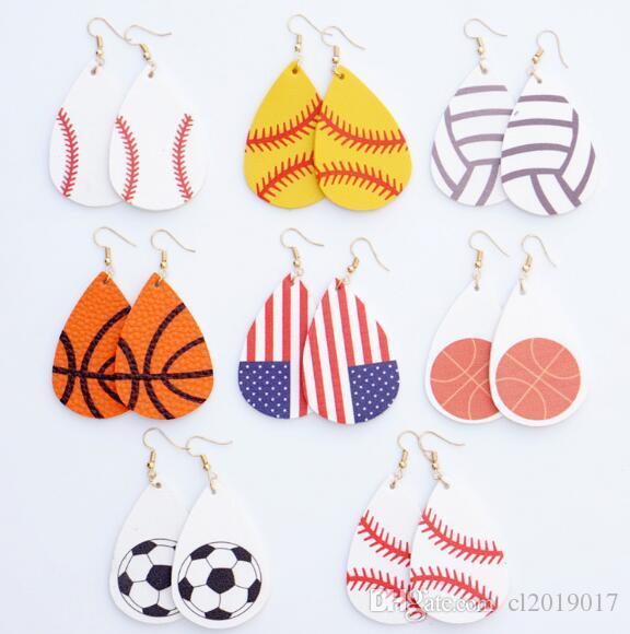 Футбол Спорт Pu кожа серьги регби американский флаг серьги женщин Леди Мода Аксессуары Ювелирные изделия 8style