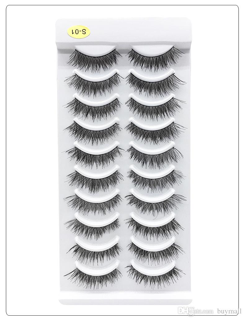 Handmade reusable false eyelashes makeup synthetic hair natural long fake lashes 10pairs eachset 5 styles available drop shipping
