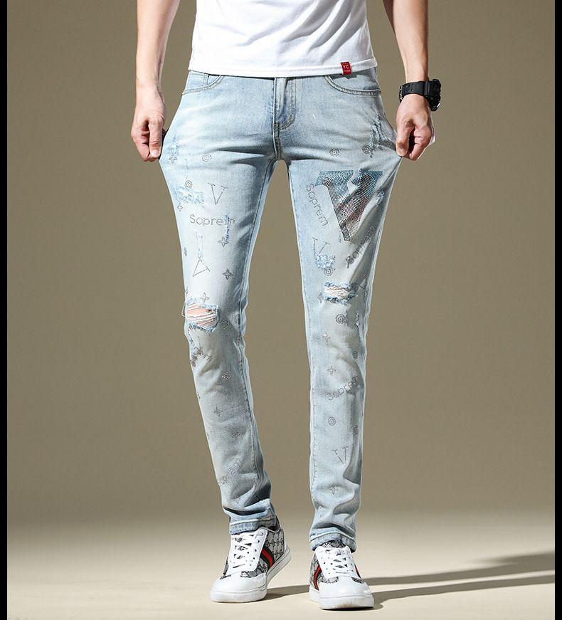 Designer Hommes Jeans Denim Mode Pantalons Drill slim Brand Jeans Ripped Bleu clair Pantalon 2020 Nouvelle arrivée Taille 28-38