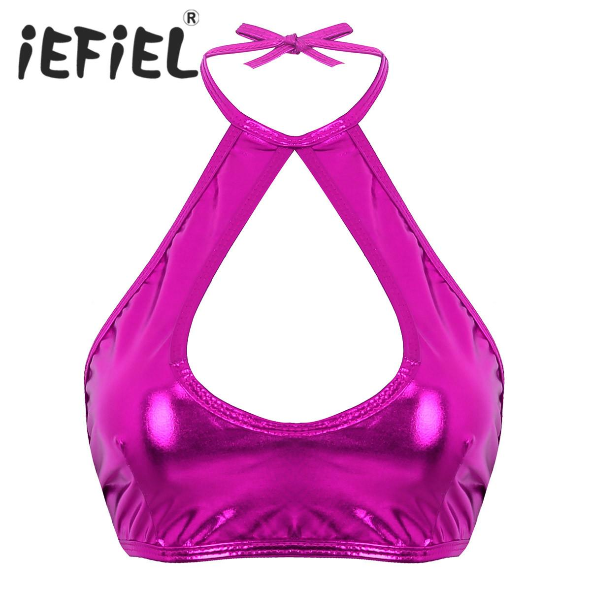 Ecopelle metallico lucido di modo Abbigliamento iEFiEL femminile sexy donne del presagio maniche Scollo all'americana cut-out da notte di Clubwear Crop Top ...
