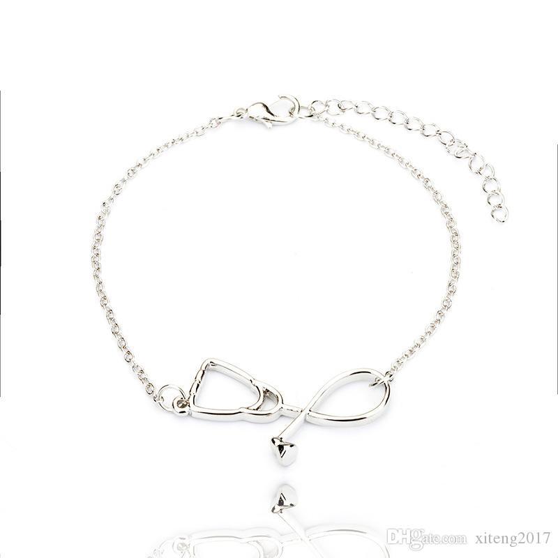 Gioielli braccialetto medico Stetoscopio Charn Bracciale I Love You Cuore Ciondolo per Nurse Dottore regalo dei monili 2020