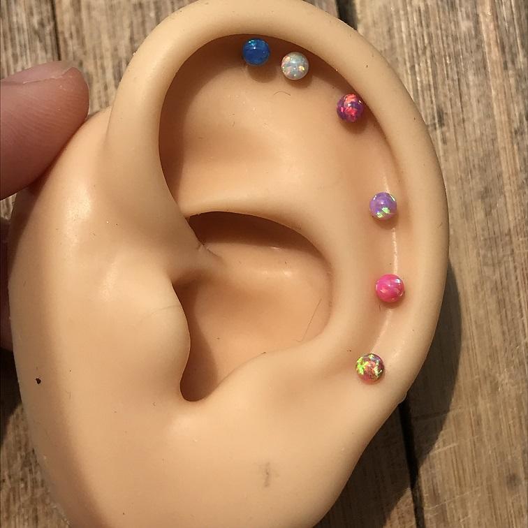 1PC Opal trago earriing Stud 20G acero inoxidable Daith Piercing cartílago de la oreja pendiente de la hélice cuerpo percing joyería