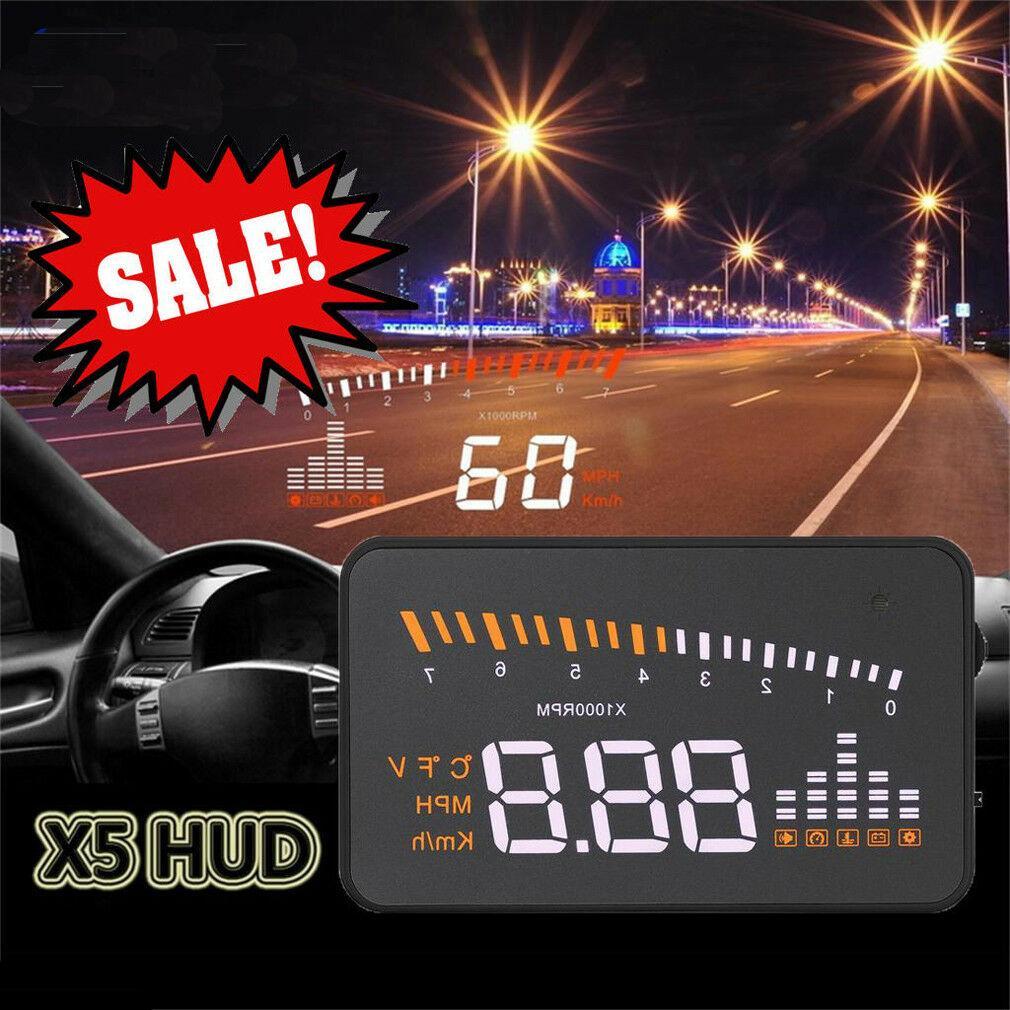 X5 자동차 헤드 업 디스플레이 OBD2 II HUD 프로젝터 속도계 KM / h의 속도 경고 CHZ