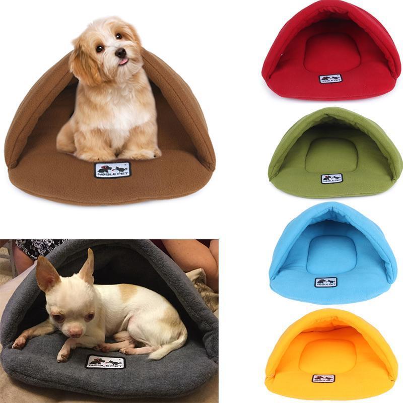 Caliente suave polar perro camas de invierno para mascotas climatizada Mat perro pequeño cachorro de la perrera Casa de los gatos del saco de dormir Nido cueva cama