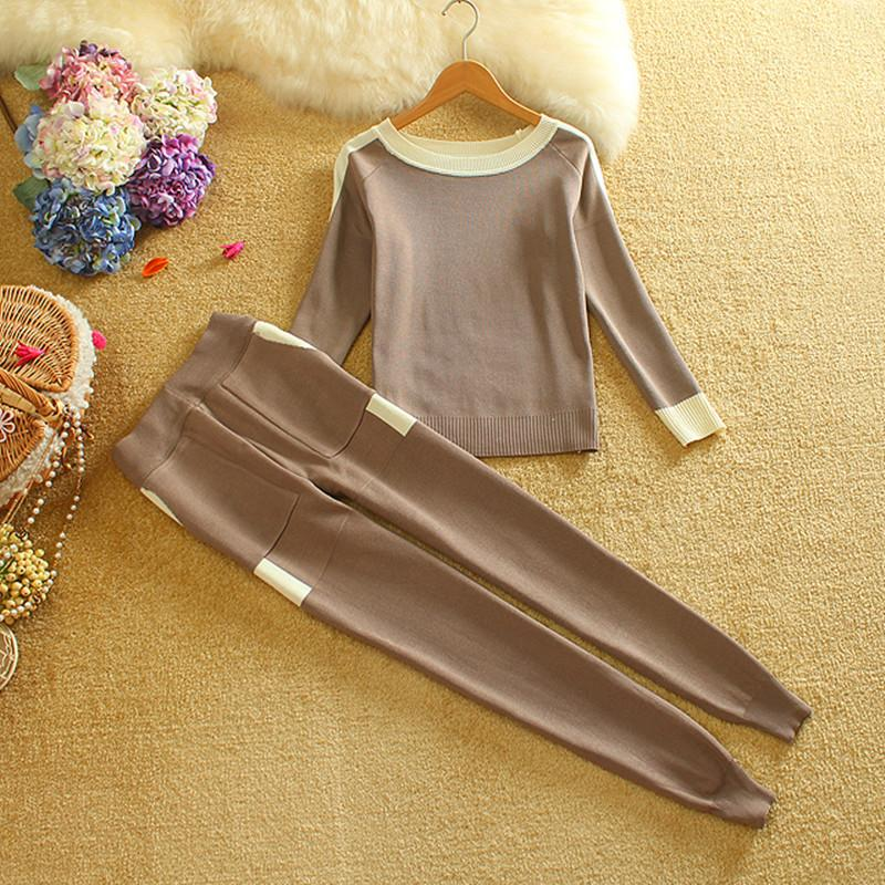 Women Knitting Set Sweaters Long Pants Pullovers Trousers Suit s 2PCS One Size