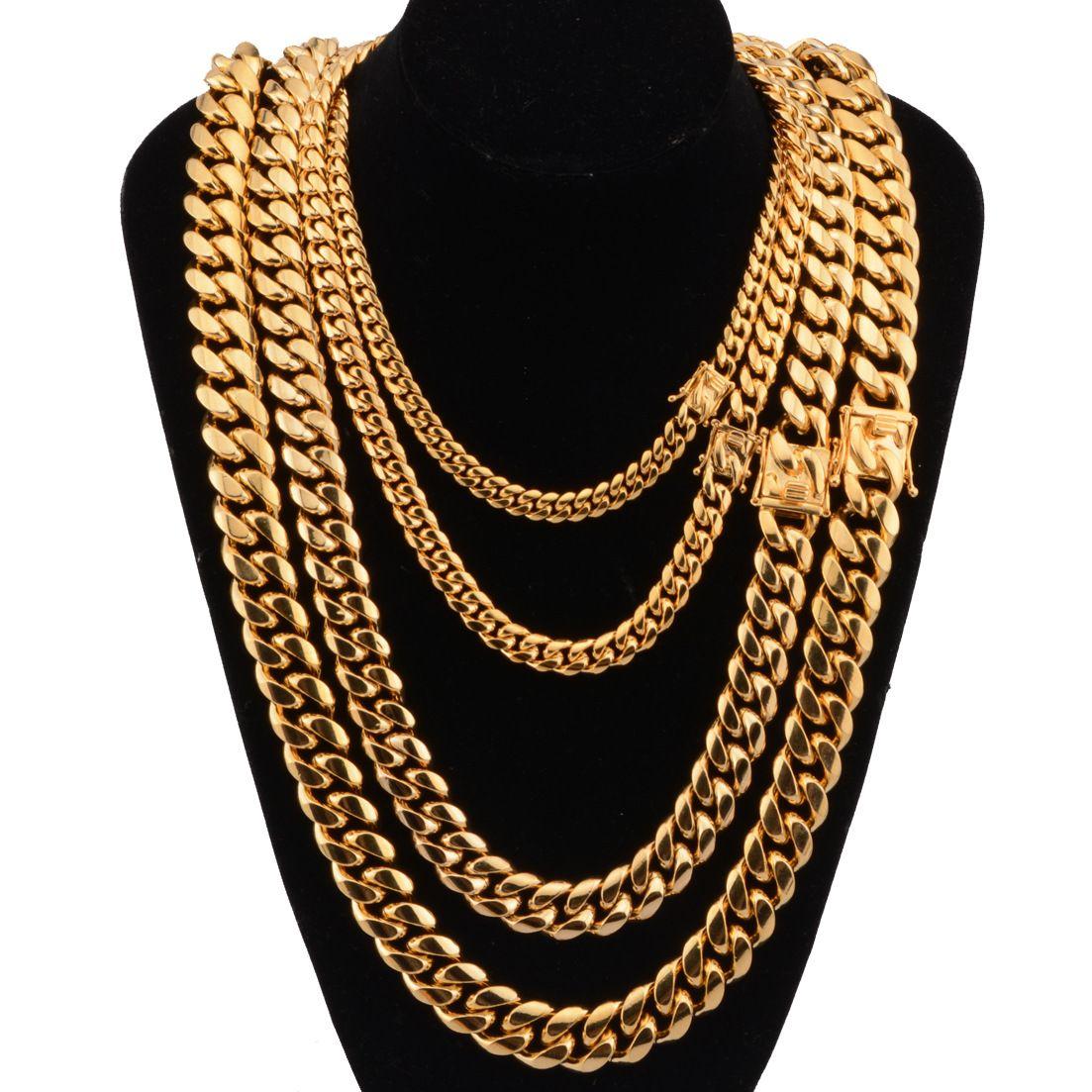 فاخر مصمم القلائد الفولاذ المقاوم للصدأ مجوهرات الهيب هوب قلادة الرجال الكوبية ربط سلسلة طويلة الذهب مغني الراب الإكسسوارات والمجوهرات الجديدة
