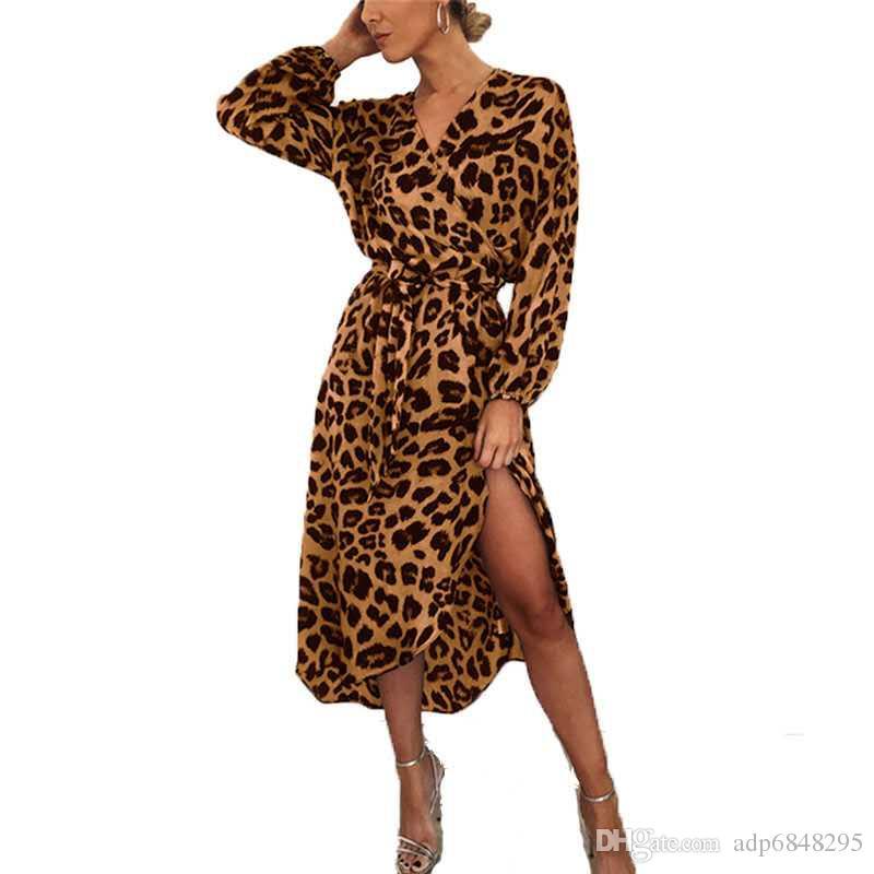 Moda stil uzun plaj kadınlar casual uzun kollu derin v yaka leopar baskı v yaka yüksek bel düzensiz dantel