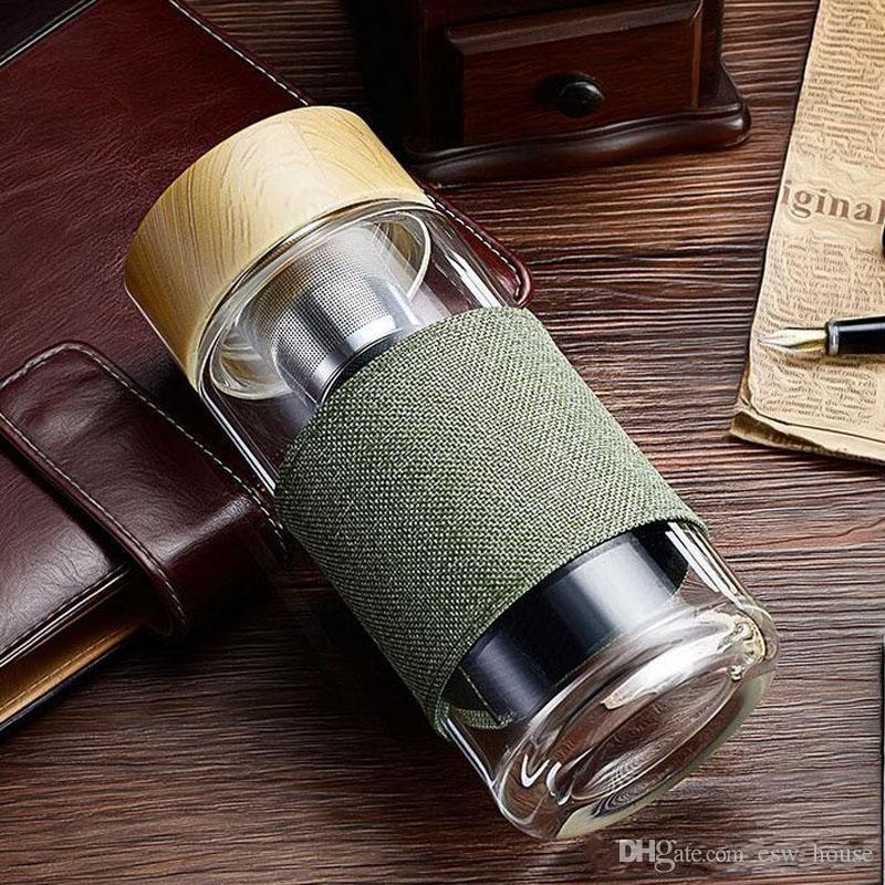 400ML Glas Wasserflasche mit Tee-europäischer Art-Sieb Hitzebeständige Reise Auto-Büro-Trinkflaschen Teacups