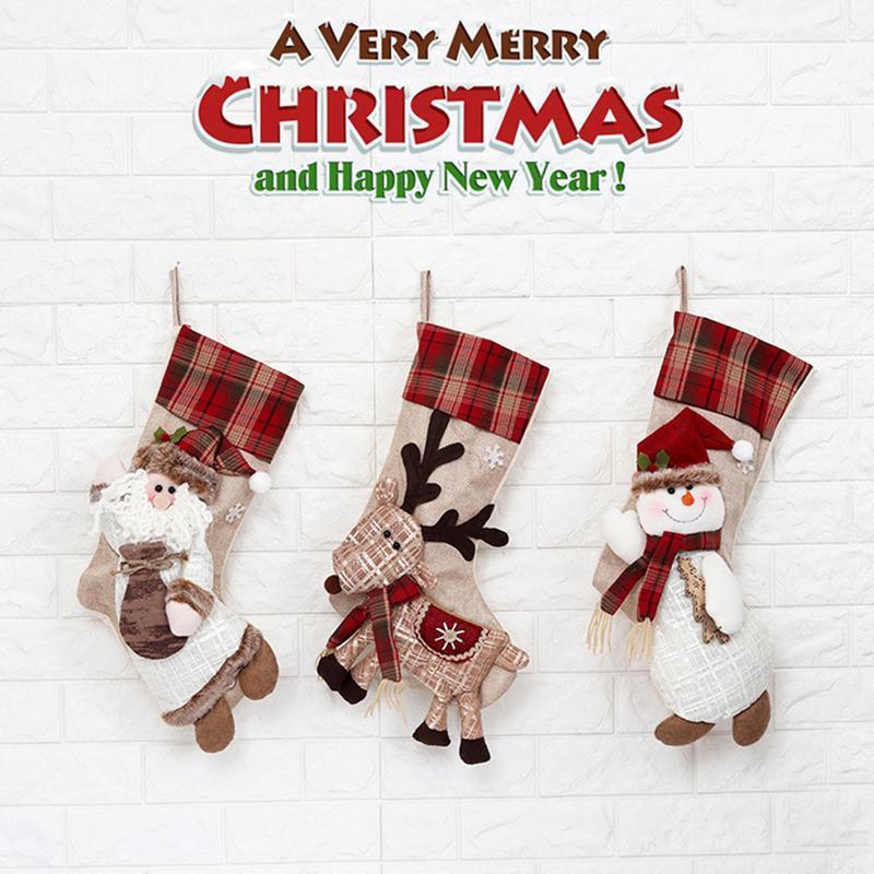 Large Christmas Socks Gift Bag Christmas Decoration For Home Shop Santa Snowman Elk Candy Bag Tree Hanging Ornament