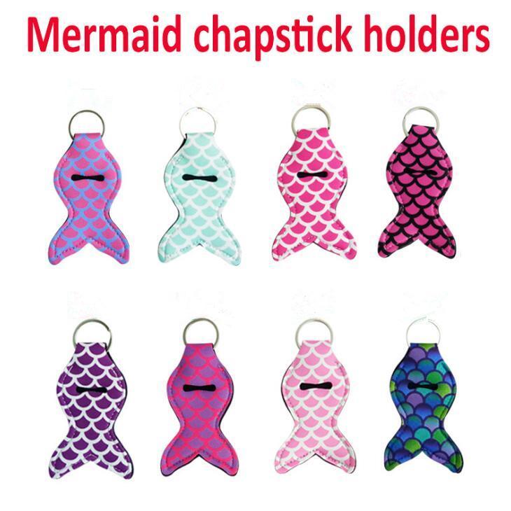 Mermaid Keychains Chapstick Holder Keychain Lipstick Cover Fish Design Key Ring Baseball Stripe Cover Case gift