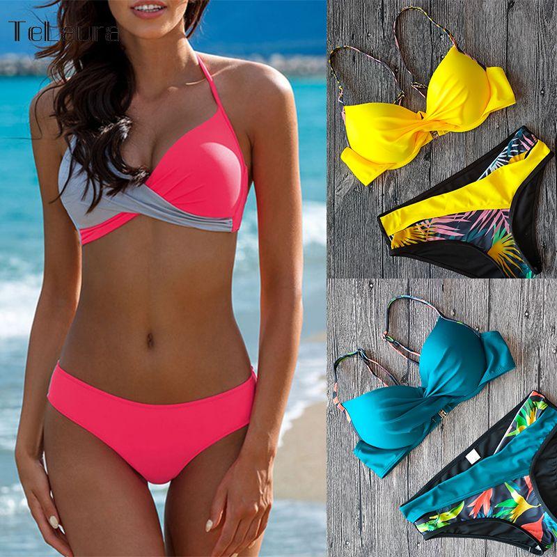 2020 Sexy Bikini Maillot de bain femme Push Up Bikinis Femmes Maillot de Bain Biquini Bikini Brésilien Ensemble solide Beachwear Femme
