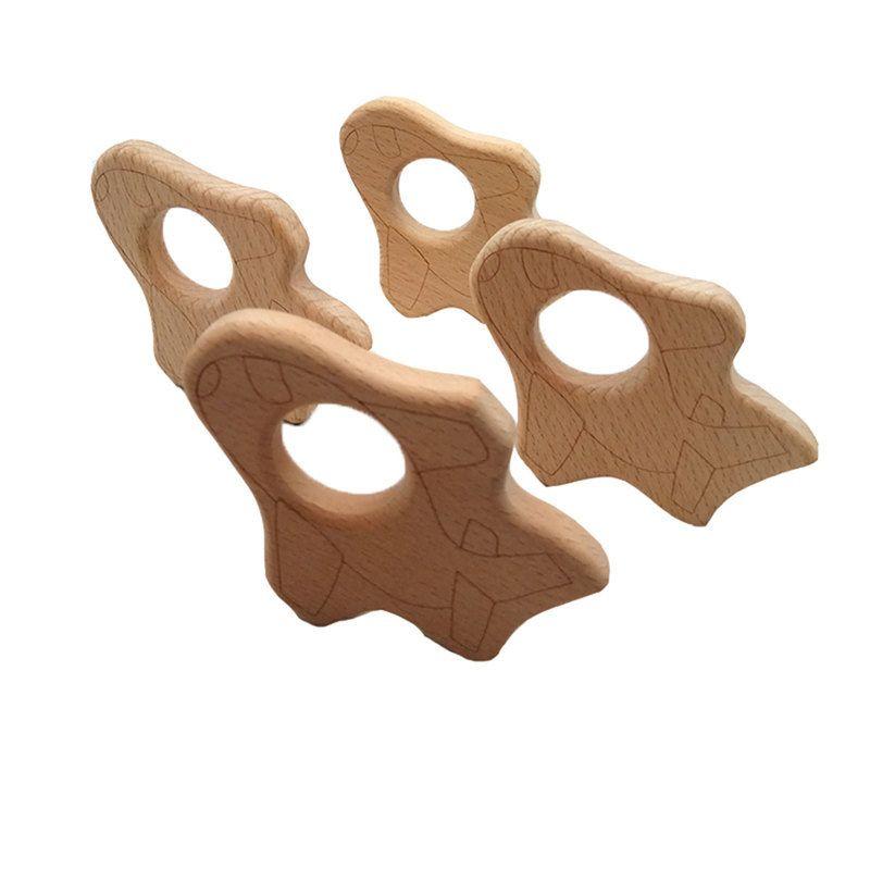 4pcs naturel organique hêtre en bois anneau de dentition forme de bébé hochet de dentition jouet bricolage bio écologique bois accessoires de dentition