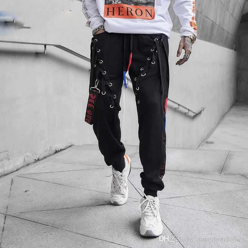 Гарем Брюки Уличная Мужчины Хлопок Брюки Хип-Хоп Хабар Бегунов Мужская Мода Черный Скейтборд Тренировочные Брюки