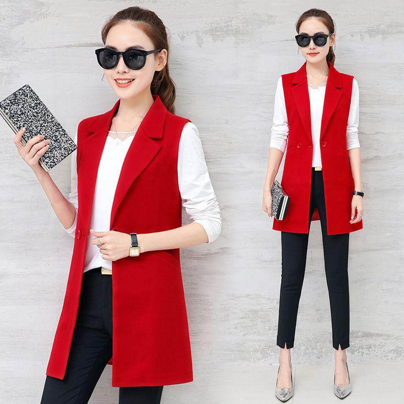 Sonbahar Kolsuz Blazer Yelek 2018 Ofis Lady Uzun yelek kadın Siyah Kırmızı Cep Dış Giyim Ceket Çalışma Uzun Katı Yelek
