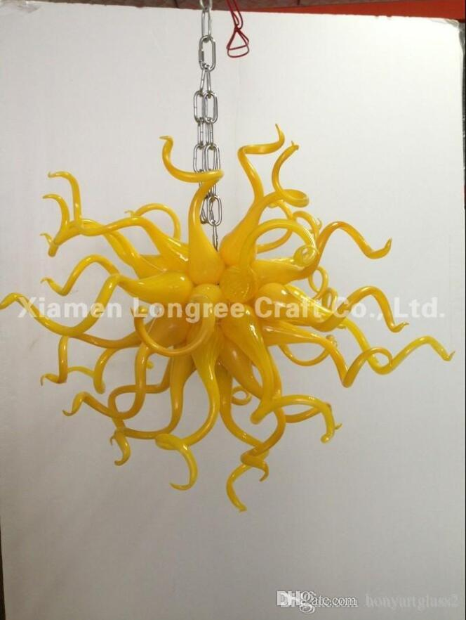 C87-China Factory-outlet Hand Blown Glass Smart Chandelier Light Yellow Murano Glass Crystal Cheap LED AC Hanging Pendant Lamps