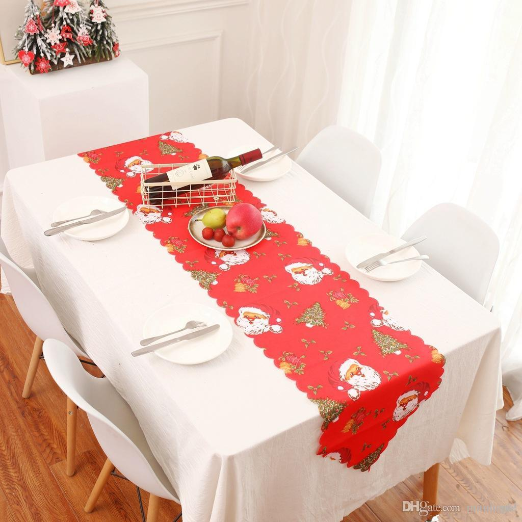 Christmas Decorations For Home Table Runner Mat Tablecloth Flag Santa Claus Cloth Table Runner Xmas Navidad Noel Home Decorative Home Decorating