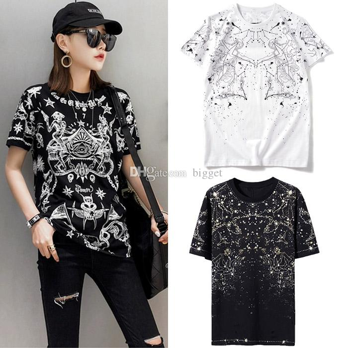 2019 Tee Bayanlar Sokak Giyim Kız Fit Relax T-Shirt Baskılı Dövme Yuvarlak Boyun Yumuşak Pamuk Nedensel Üst Kadınlar