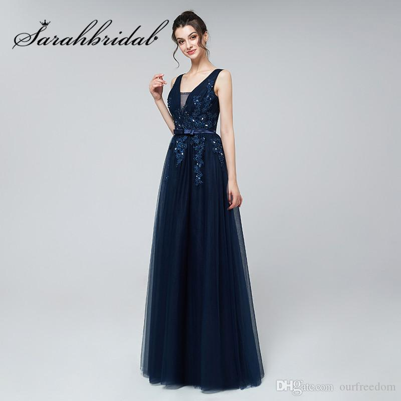 Long Evening Dresses 2019 Sexy V-Neck Lace Applique Tulle Beads Floor Length Dresses Prom Party Gowns
