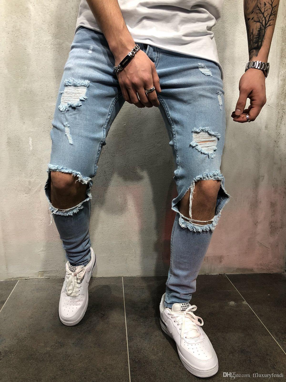 Hallo Straße Löcher Designer Jeans Skateboard der Männer Slim Fit Teenager Boy Hiphop Ripped Jean Pants