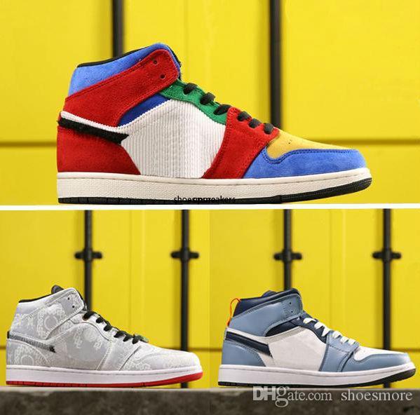 İndirim Mavi Büyük 1 CLOT Basketbol Ayakkabı 1s Orta Korkusuz Kadınlar Erkek Designer Renkli Spor Sneakers des Chaussures x