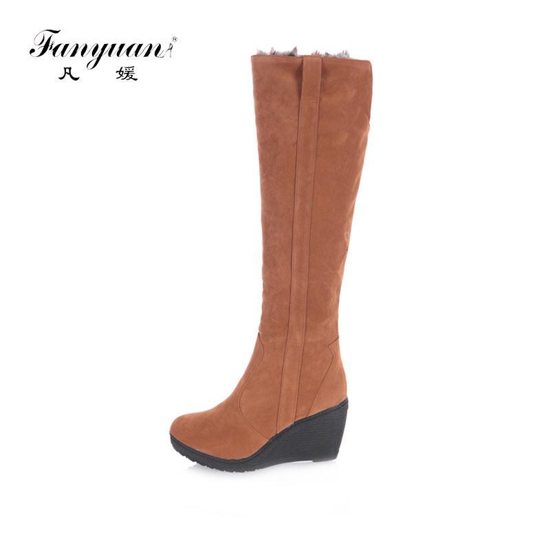 Fashion Womens Round Toe Wedge Heel Outdoor Fur Lining Snow Knee High Boots