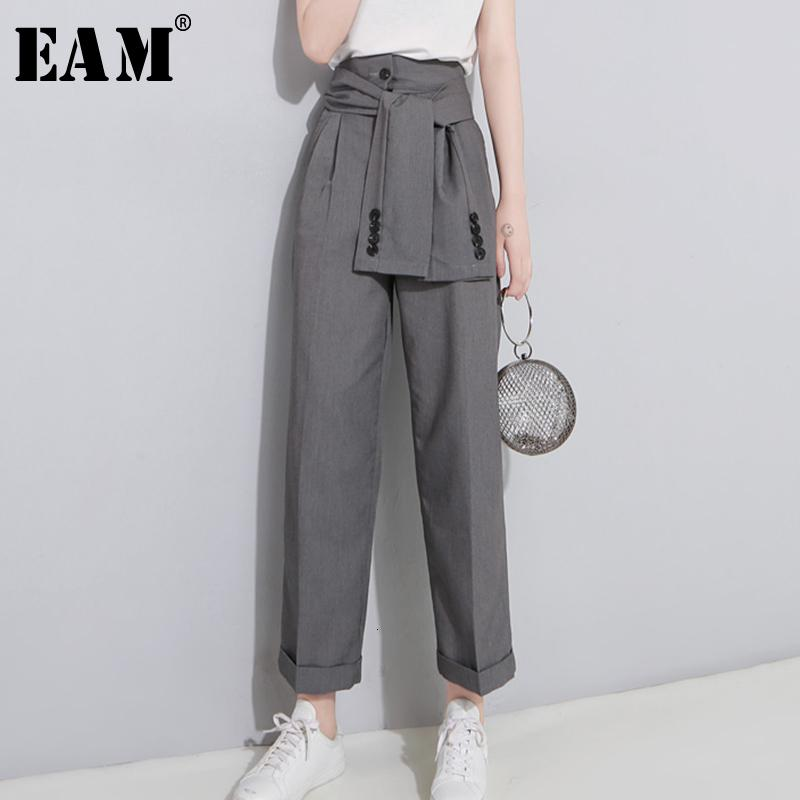 [EAM] 2019 Spring High Waist Lace Up Black Slim Temperament Tide Trend Fashion New Women's Wild Casual Wide Leg Pants LA462 V191022