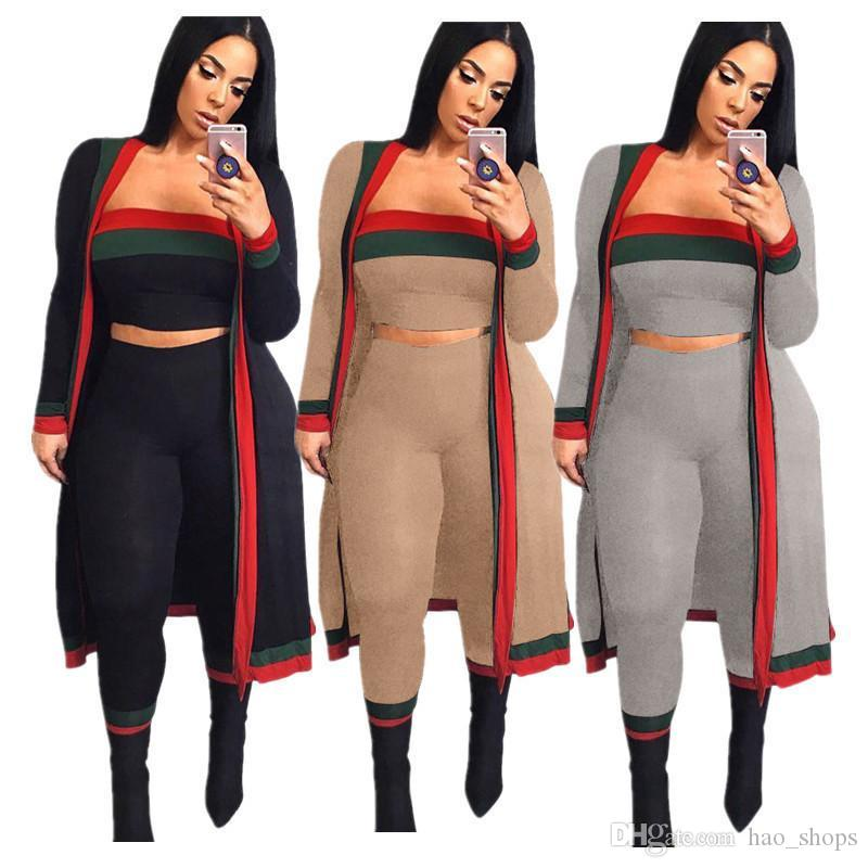 Brasão Mulheres Striped Treino manga comprida Tops + design Cortar Bra + Pants Leggings 3 peça Jacket Summer Set Outfit Sportswear Roupa 3XL