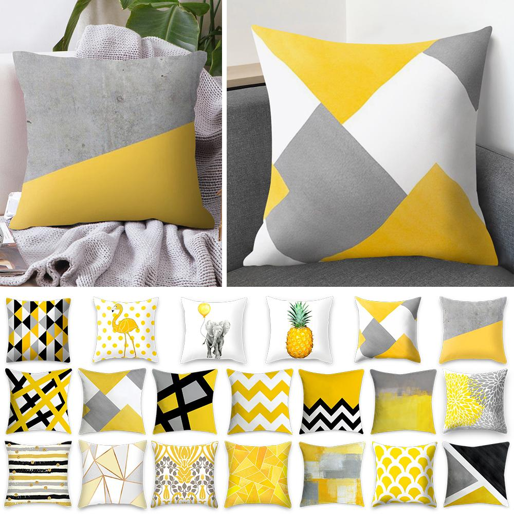 Rosequeen 45x45cm Funda de almohada de rayas amarillas Funda de almohada geométrica Cojín Funda de almohada de impresión Funda de almohada de dormitorio Decoración de oficina de dormitorio