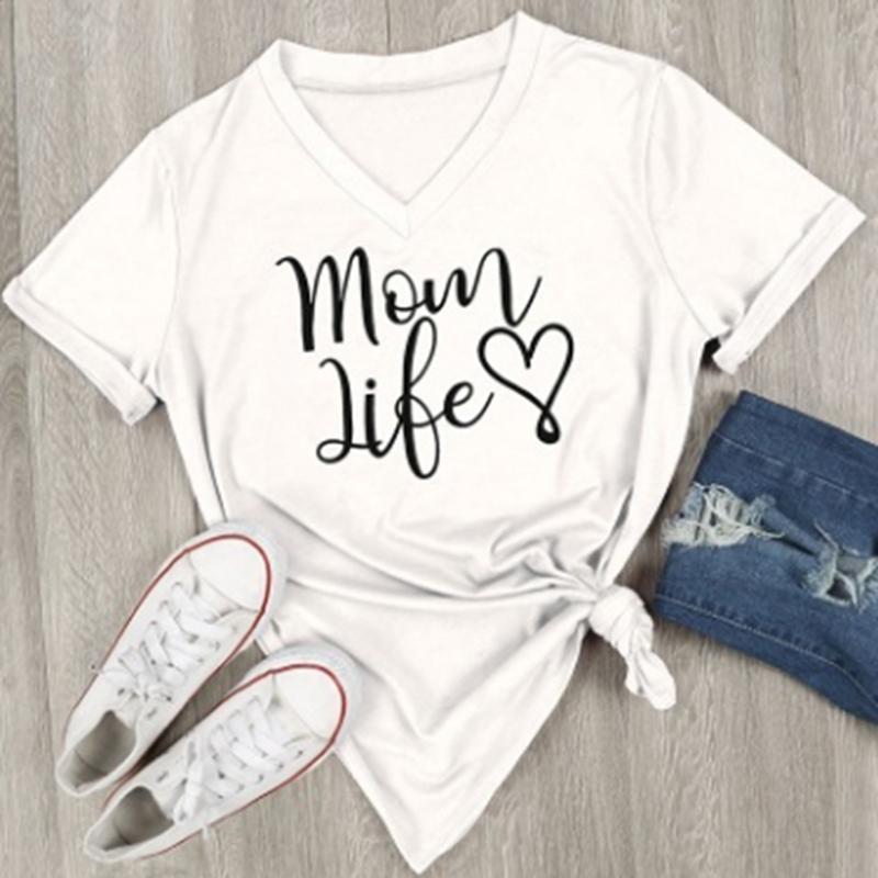 Novo Verão Ocasional T Shirt Feminino Tee Solto Tops Moda Mulheres Camisetas Mãe Vida Carta Impresso V -Neck Manga Curta Tops Venda Quente
