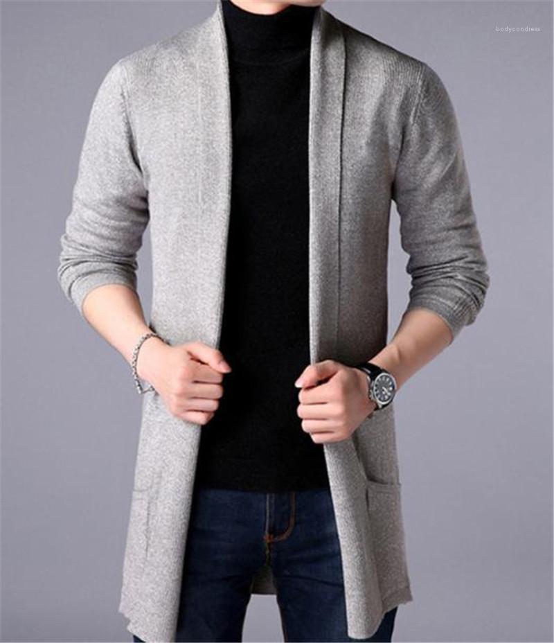 Mäntel beiläufige lange Hülsen-Männer Kleidung Solid Color Mens Designer Pullover Fashion Slim Taschen Herren Cardigan