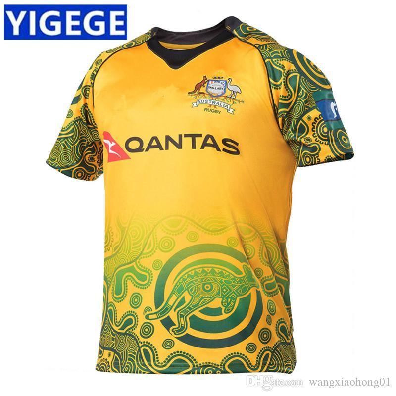 2018 AUSTRÁLIA WALLABIES JERSEY INDÍGENA Austrália jerseys de rugby 2018 AUSTRÁLIA WALLABIES JERSEY tamanho S-3XL (pode imprimir)