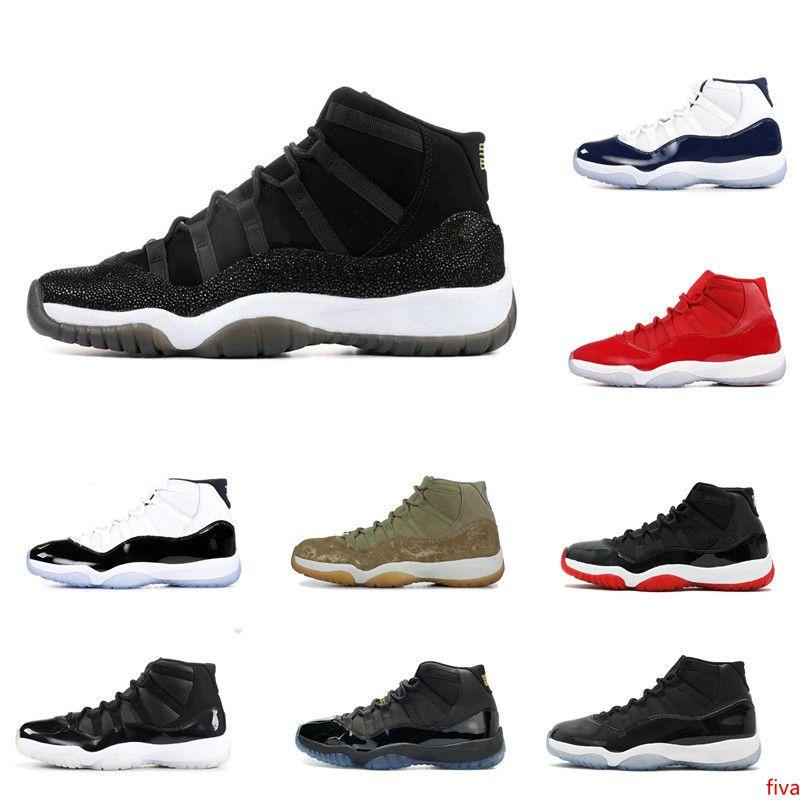 Com 11 XI Mens tênis de basquete Venda Concord Bred Olive Lux Platinum Tint Space Jam UNC 2019 XI Designer Shoes Esporte Sneakers 36-47