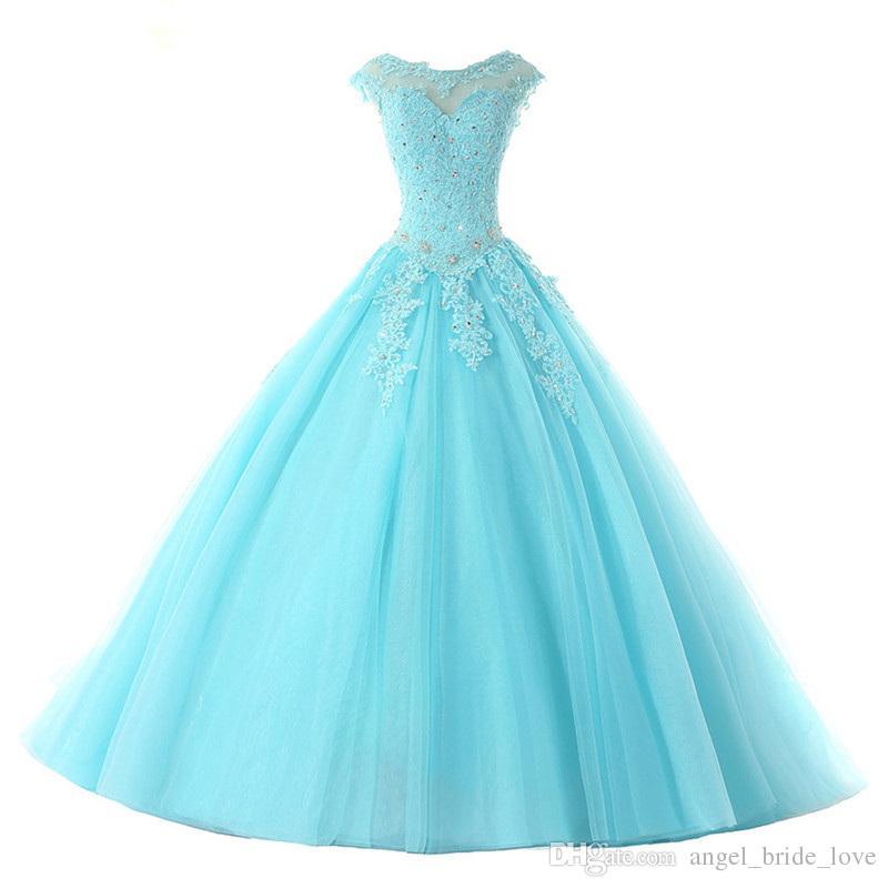2018 Moda Backless Kristal Aplikler Balo Quinceanera Elbiseler Lace Up Tatlı 16 Elbiseler Debutante 15 Yıl Balo Parti Elbise BQ119