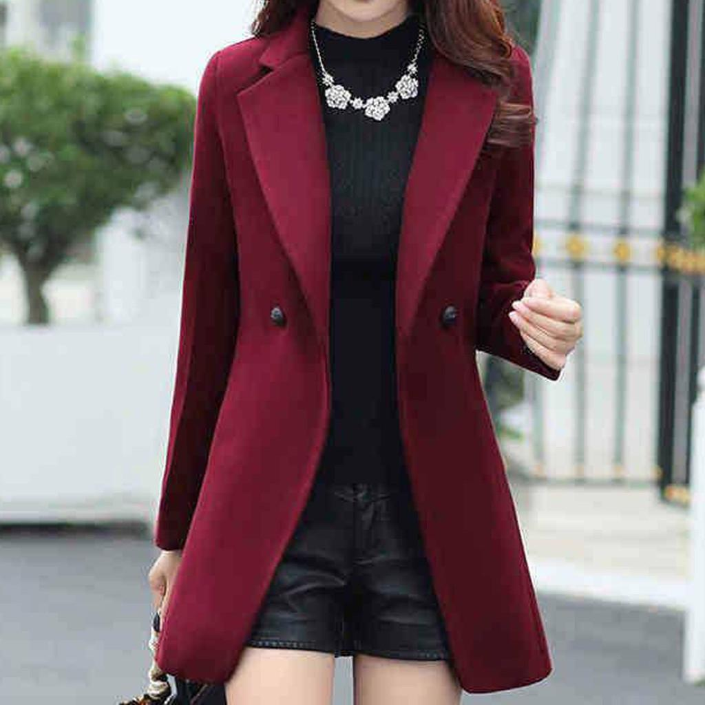 Feitong Office Winter Femmes Plus Taille Tourner Collier Manches longues manteau de revers Trench Jacket Slim Outwat Formal Winter Outwear