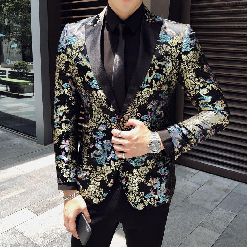 stile cinese del drago d'oro modello di abiti uomo slim fit di alta qualità digitale 3D tessuto in velluto stampa 1PCS matrimonio all'ingrosso vestito dello sposo ma