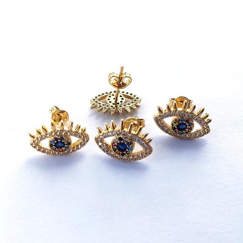 High Quality Gold Color Eye eyelash Earrings,Micro Pave rainbow CZ Cubic Zirconia Stud Earrings Women Jewelry ER889