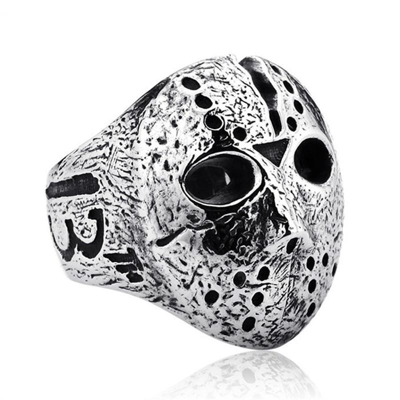 Black Friday Hockey Jason-Masken-Schädel Ringe Herren-Legierung Schmucksache-Ring für Männer Silber Halloween Jason Schablonen-Ring