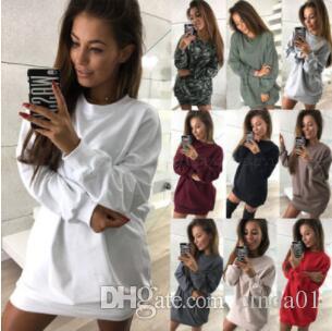 Mujeres Larga Longitud Sudaderas Casual Color Sólido Jersey Manga Larga Vestido Primavera Otoño Femenino Fides Fit Tops Vestido de Mujeres