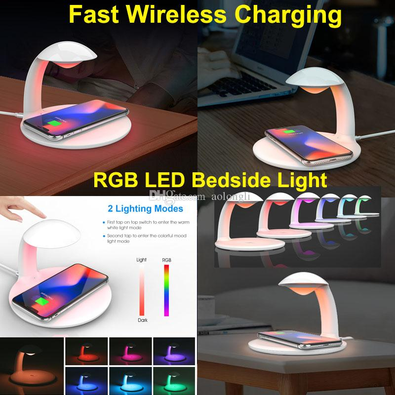 شاحن لاسلكي Qi جديد لشحن البطاريات لشحن iPhone XR / Max / XS / X / 8 / 8P / HUAWEI / Samsung مع مصابيح تحكم RGB LED