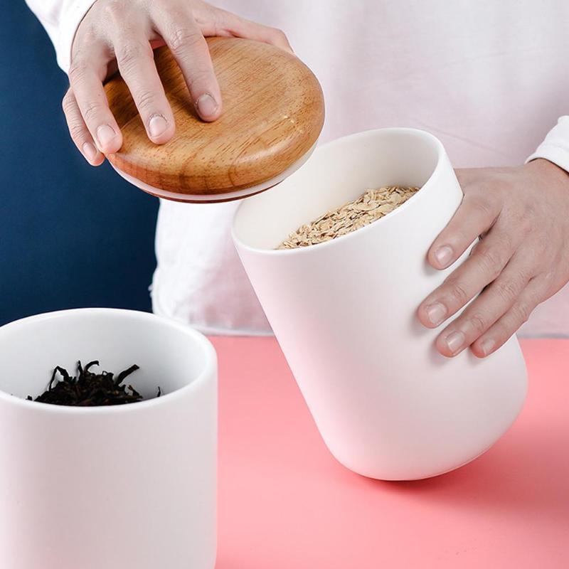 Ceramic Storage Jar With Lid Airtight Seal Ceramic Canister Storage Jar Sugar Bowl Salt Container Coffee