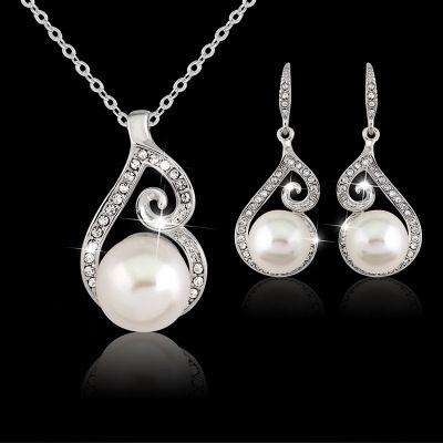 Las mujeres perlas de cristal colgante, collar del pendiente de la joyería de plata plateó el collar de cadena Establece Weding regalo para la muchacha Señora Cheap Wholesale
