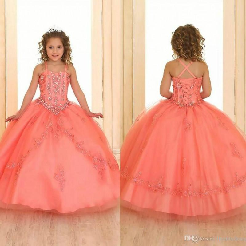 2020 New Coral Crystals Beaded Girls Pageant Dresses Sleeveless Lace Organza Flower Girl Dresses Corset Back Pageant Gowns For Teens