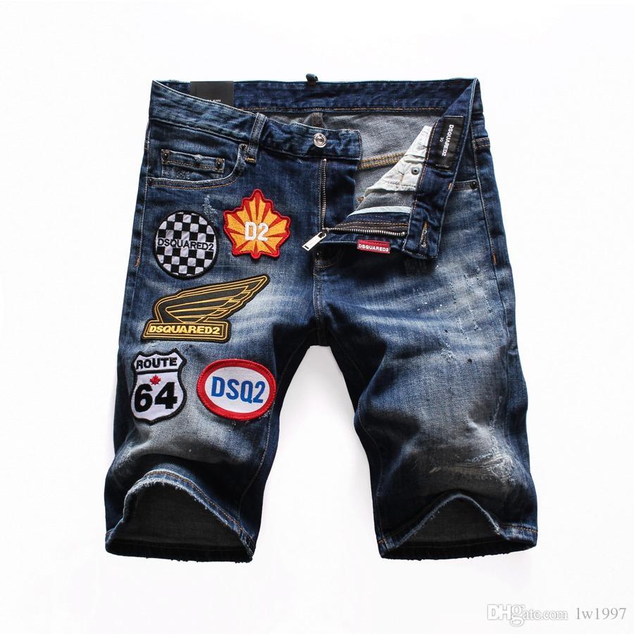 2019 مصمم الأزياء عالية الجودة القطن هول جينز التخسيس للدراجات النارية السائق سروال D1 سراويل الرجال الهيب هوب الجينز D25
