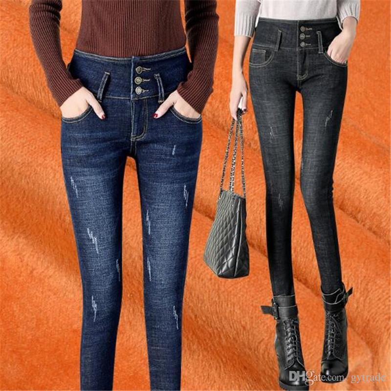 Compre Moda Skinny Jeans Mujer Cintura Alta Solido Skinny Jeans Mujer Invierno Calido Lapiz Pantalones Fleece De Oro Engrosamiento Denim Pantalones Jeans A 22 26 Del Gytrade Dhgate Com