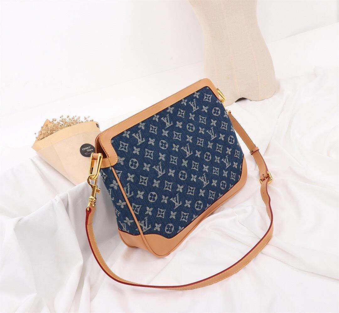 Mode sac femmes Dernières épaule Impression simple tissu de lavage denim vintage Incliné sac à bandoulière 022005