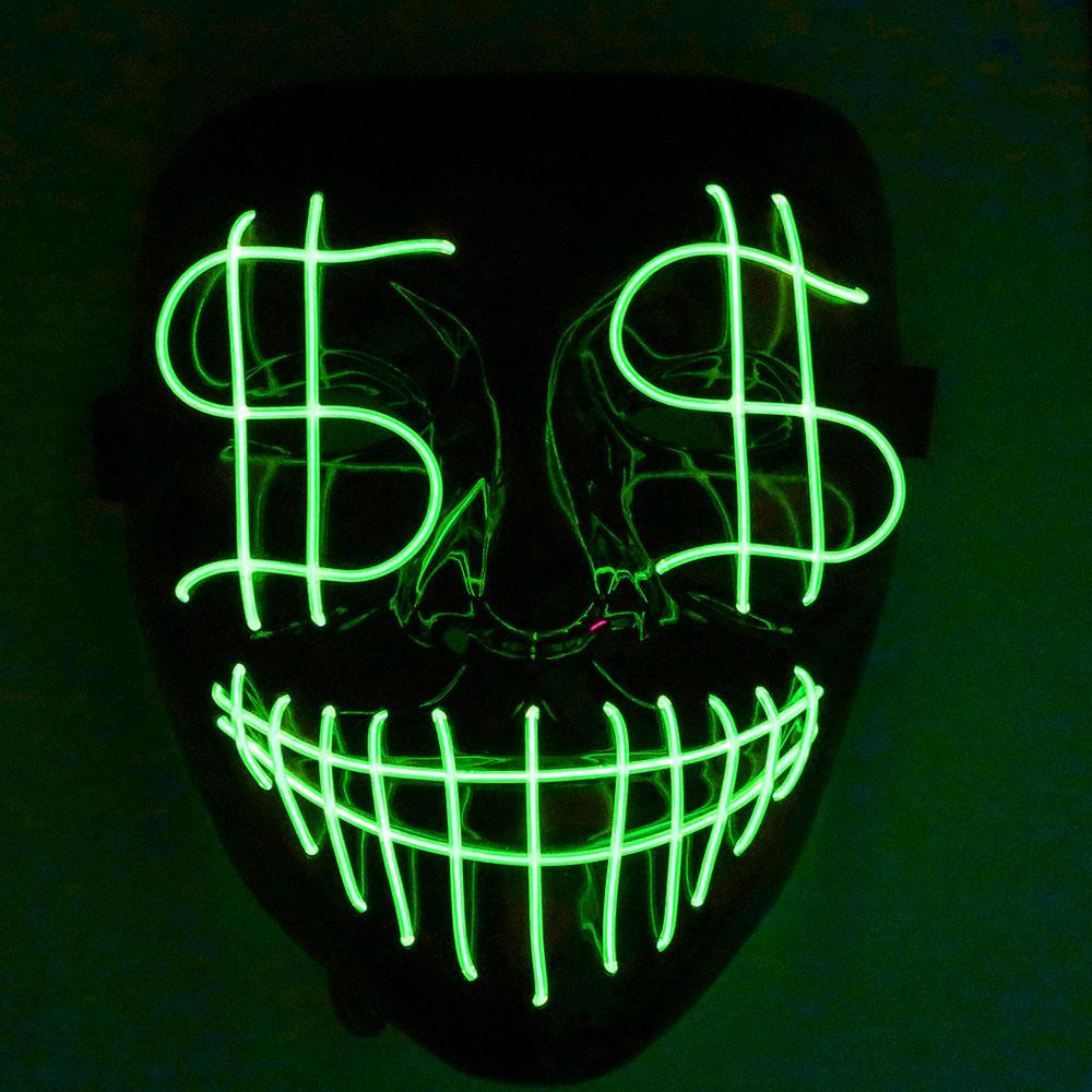 Cadılar bayramı Noel Lider Gece Lambası Maskesi Dolar Face Kanlı EL Hattı parti Maskesi Kulübü Bar DJ Işık Maske Tam Kapak Led
