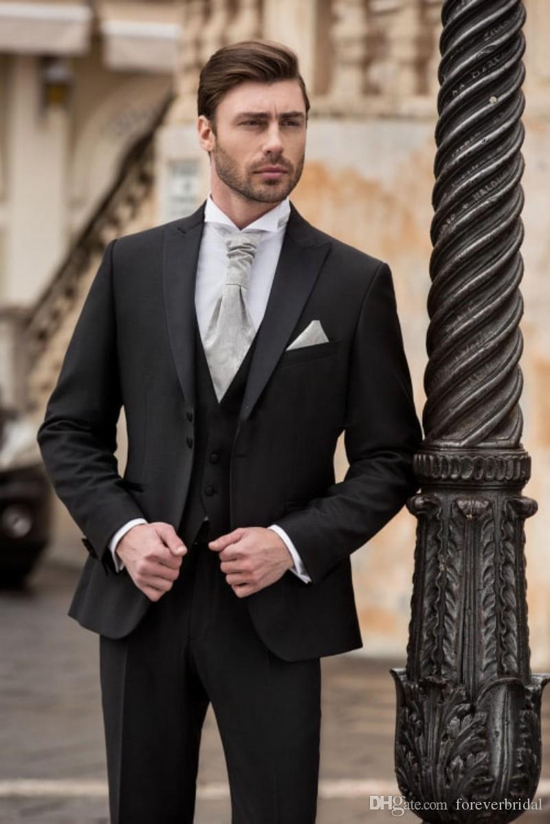 2019 factory price complimentary shipping moderate cost 2018 Classic Fitted Full Black Peaked Lapel Two Buttons Formal Business  Tuxedos Wedding Party Tuxedos Three Pieces Jackets+Pant+Vest Groom Attire  For ...