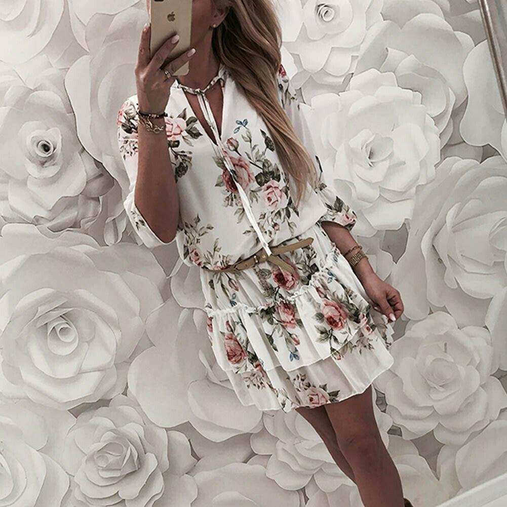 Wrap été V-cou Boho Floral vintage femmes Robe imprimé élégante femme Holiday Beach Mini Sundress Plus Size