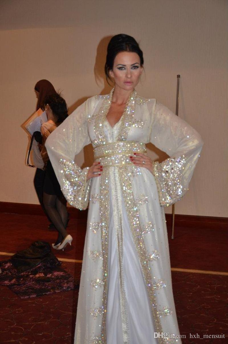 2020 Nuevo Musulmán Dubai Kaftan Vestidos de noche Encaje V Cuello de manga larga CRISTAL BLANCO BLING BLING SPA PAGERKLE Faja árabe Fashes Formal Promgowns