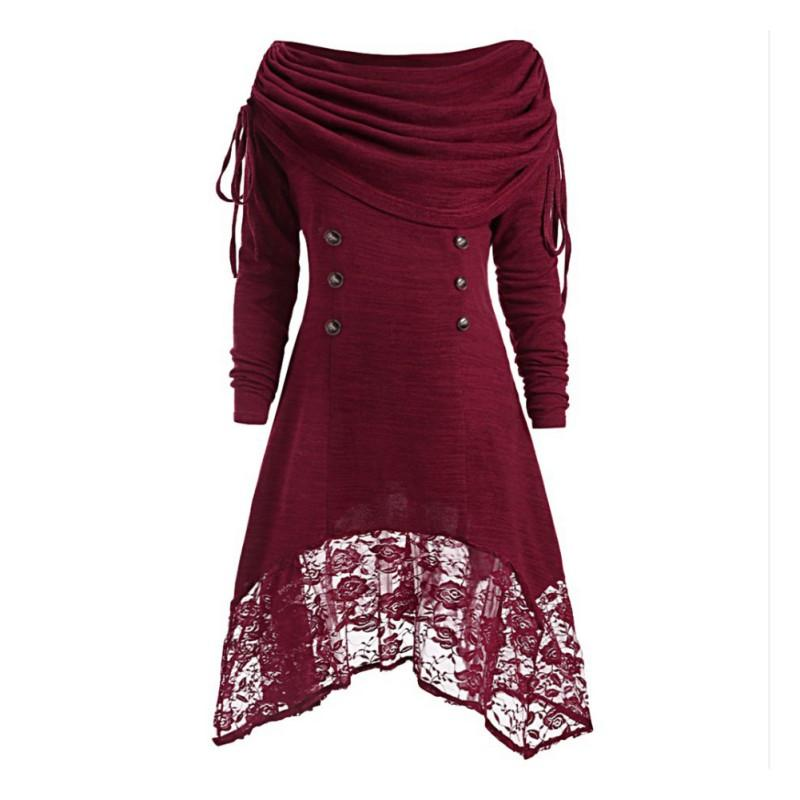 Women Vestidos Party Dress Sexy Lace Plus Size Solid Color Long-Sleeved Button A-Line Hem Irregular Gift Dropship
